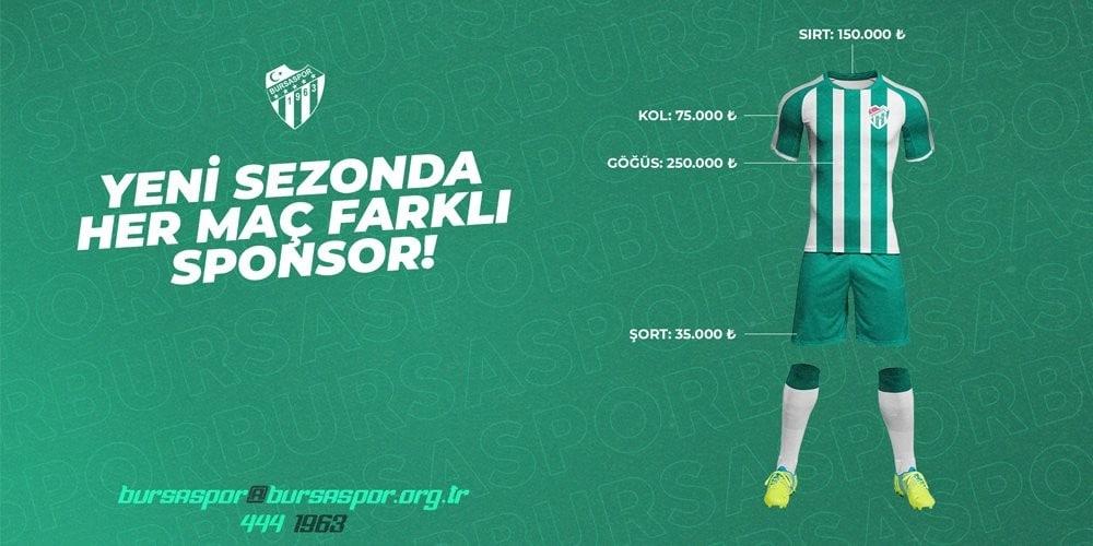 Bursaspor Kulübü, her maç için farklı forma reklamları alacak
