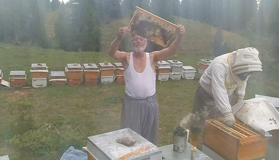 Gömleğini çıkarıp arıları sevdi