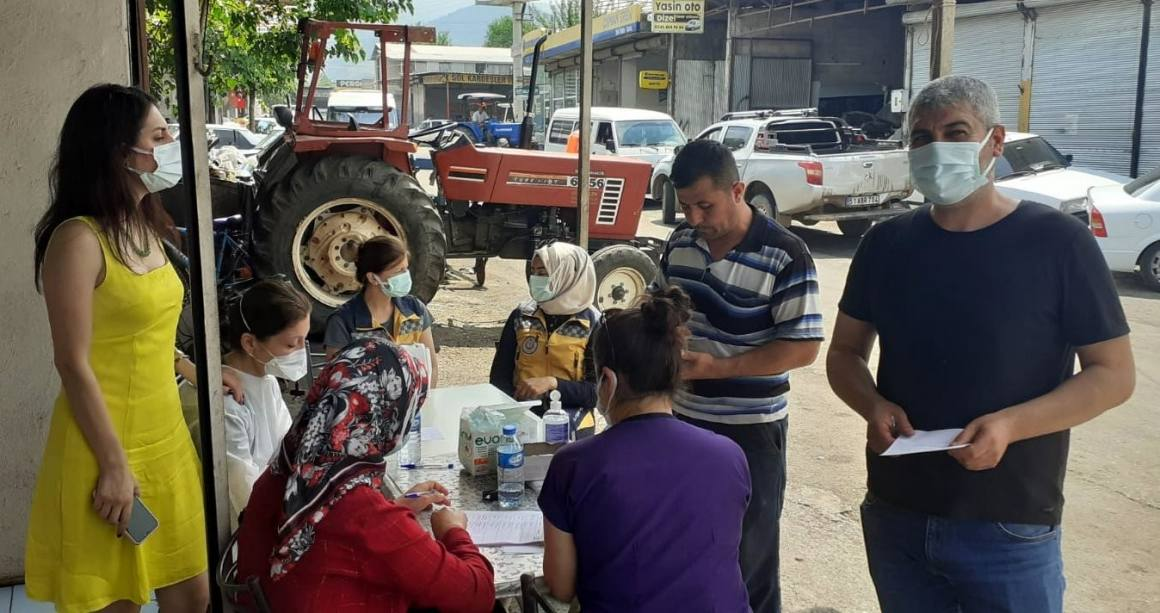 Osmaniye'de sanayi sitesinde 'yerinde aşı' uygulaması